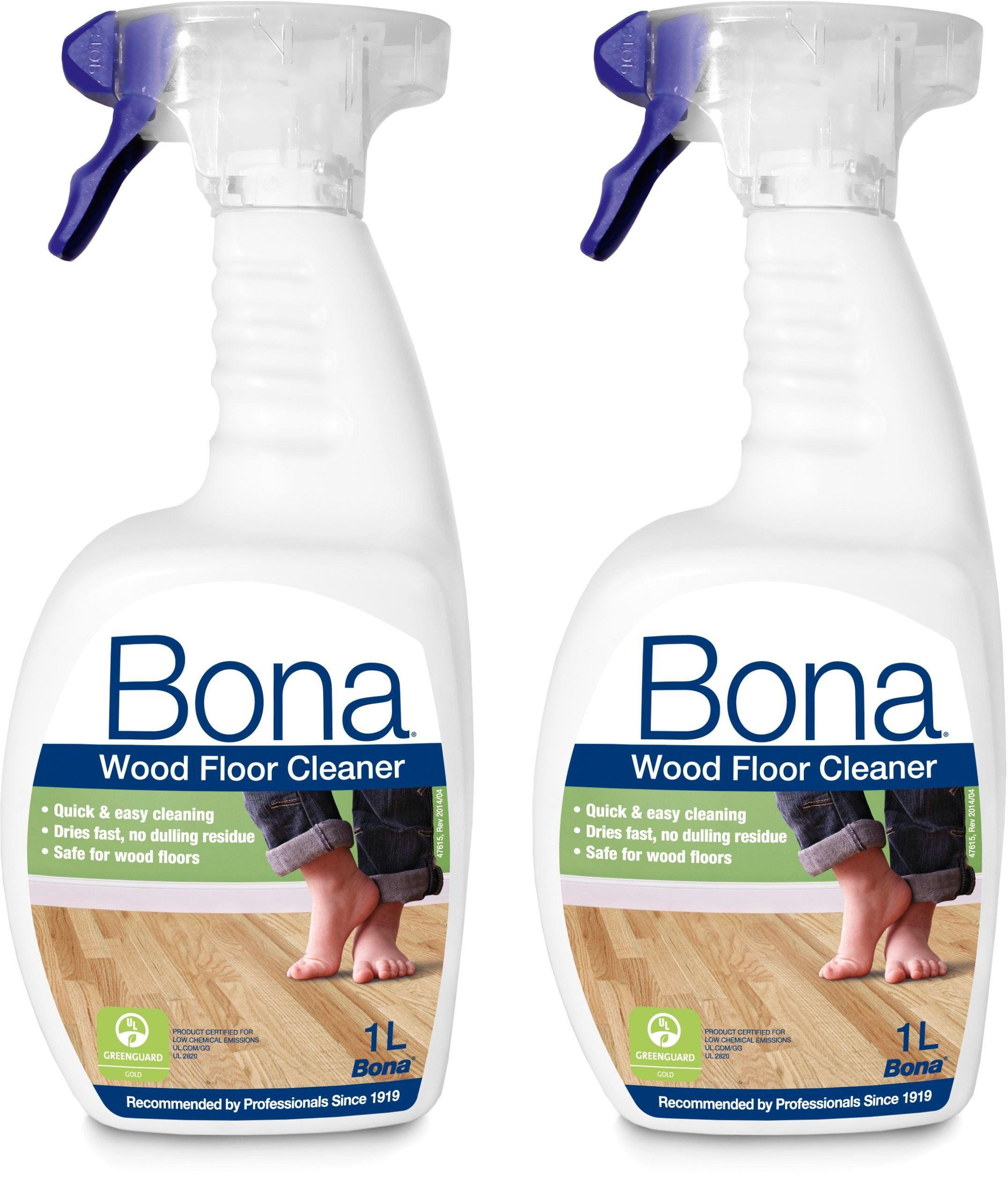 Bona 1L Wood Floor Cleaning Solution Spray - Pack of 2