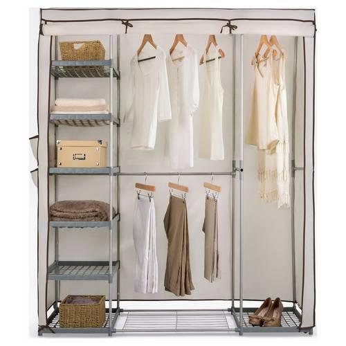 buy popular 97d50 0af07 Buy Argos Home Metal and Polycotton Triple Wardrobe - Cream | Hanging rails  and canvas wardrobes | Argos