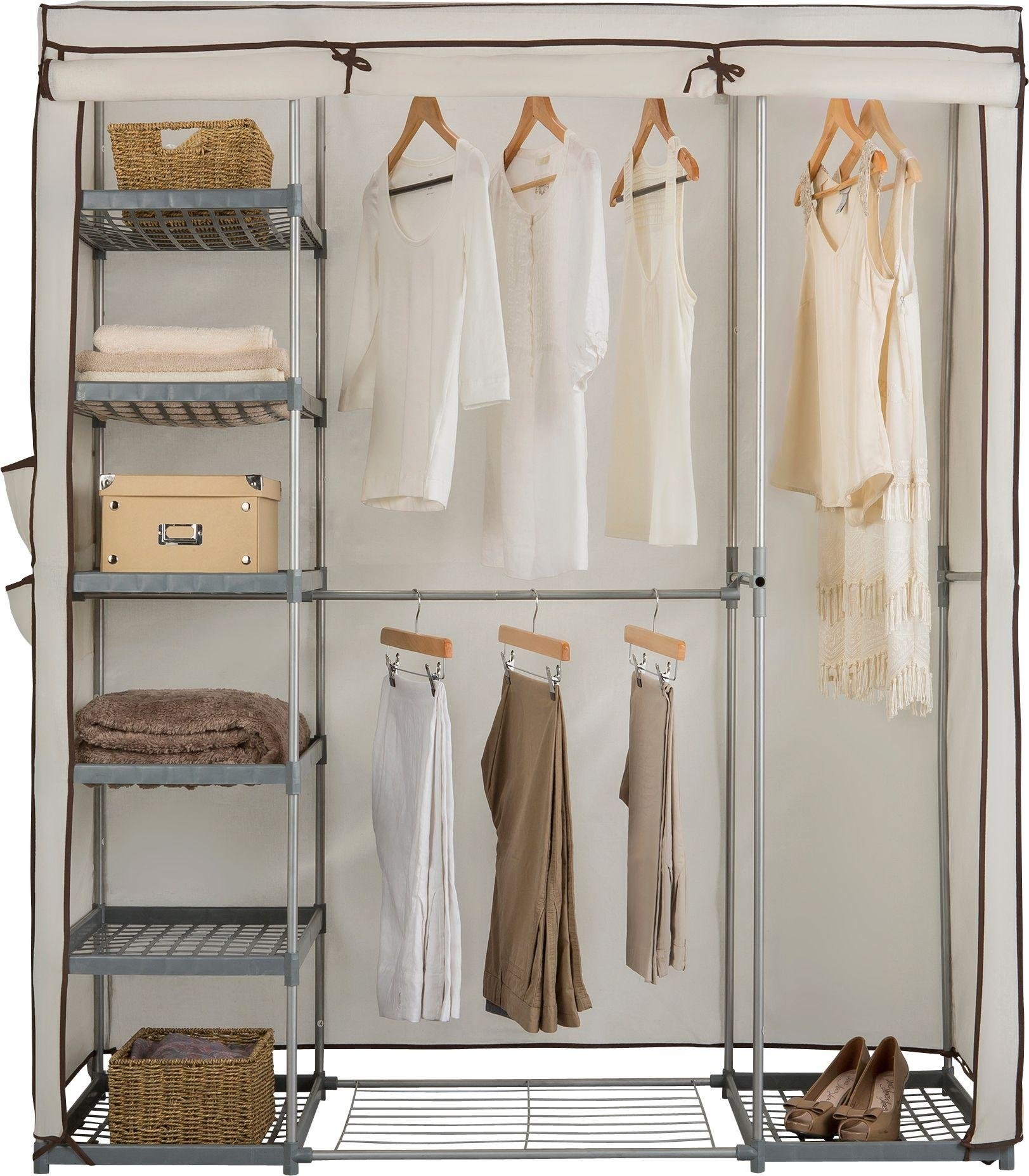 HOME Metal and Polycotton Triple Wardrobe - Cream