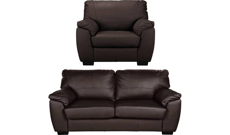 Buy Argos Home Milano Leather Chair & 3 Seater Sofa - Chocolate | Sofa sets  | Argos