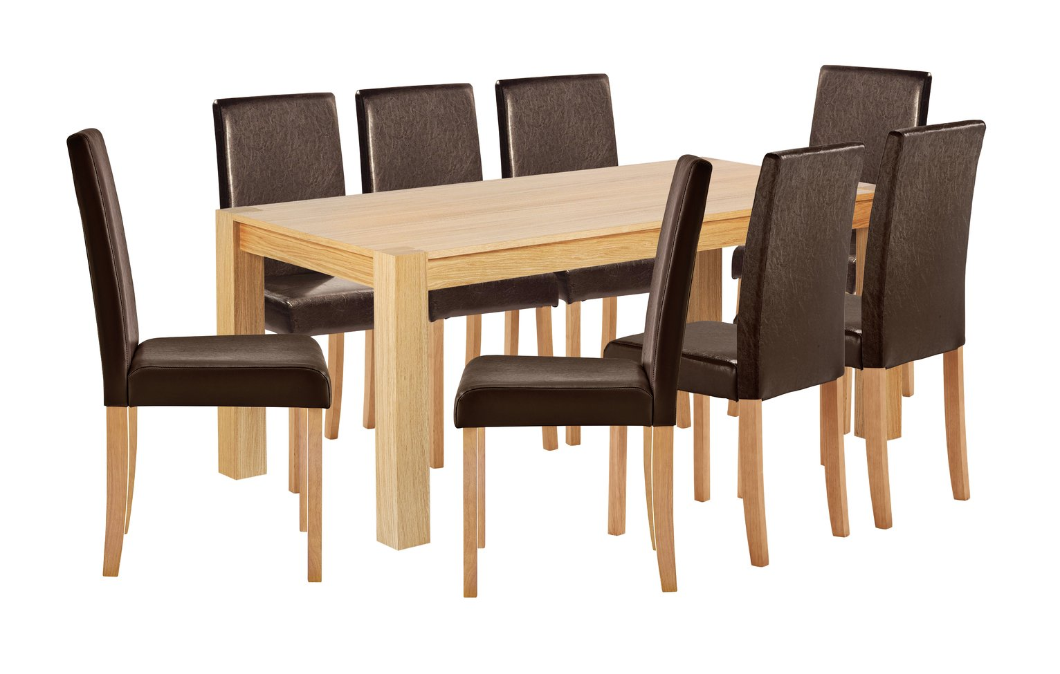 Collection Indiana Solid Oak Table & 8 Chairs - Chocolate