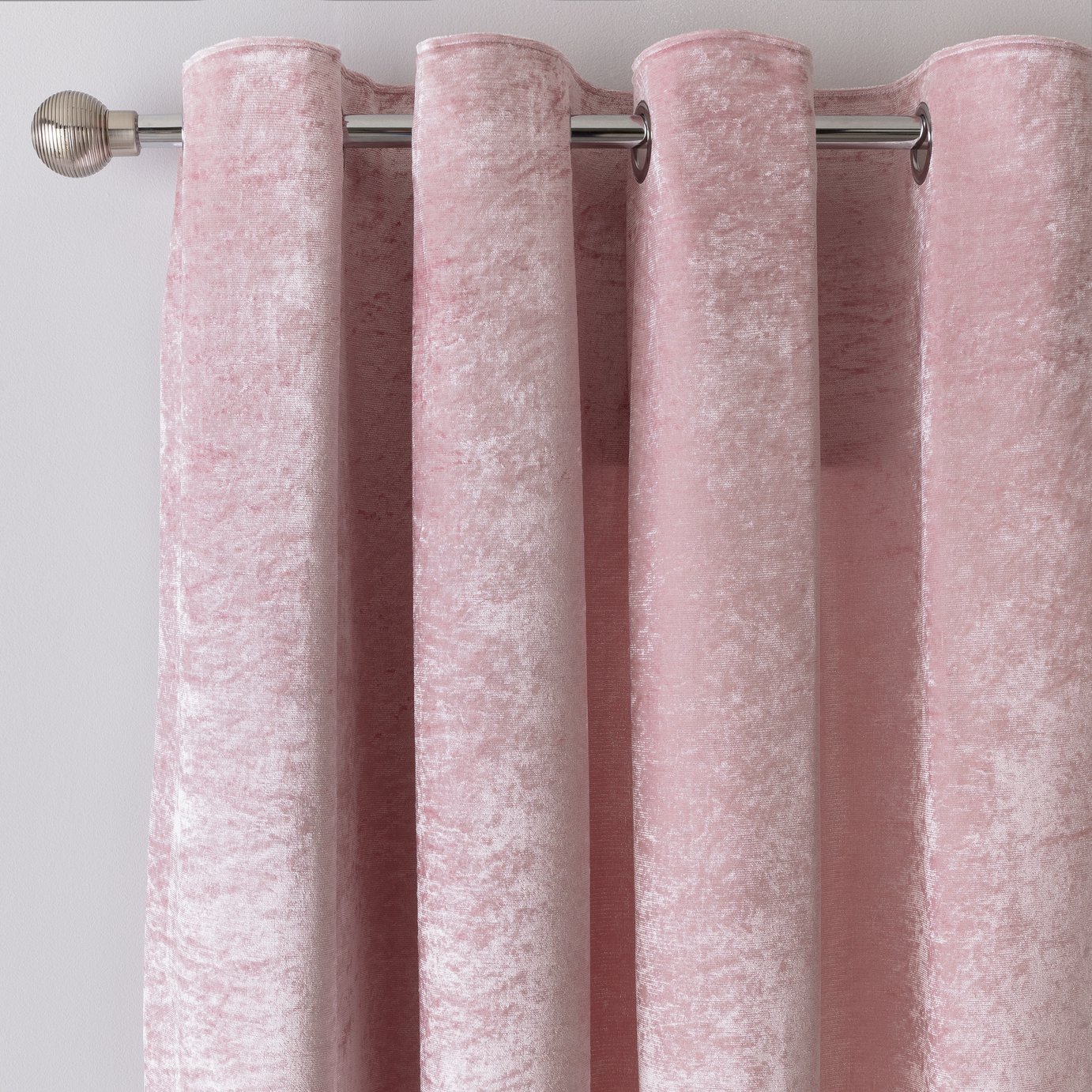 Argos Home Crushed Velvet Lined Eyelet Curtains - Blush