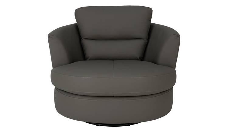 Argos Home New Trieste Leather Mix Swivel Chair - Grey
