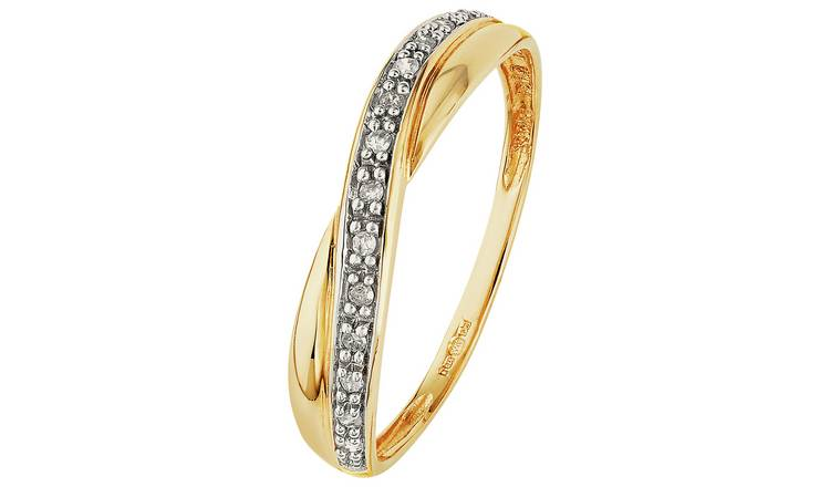 Revere 9ct Gold Diamond Crossover Eternity Ring - L
