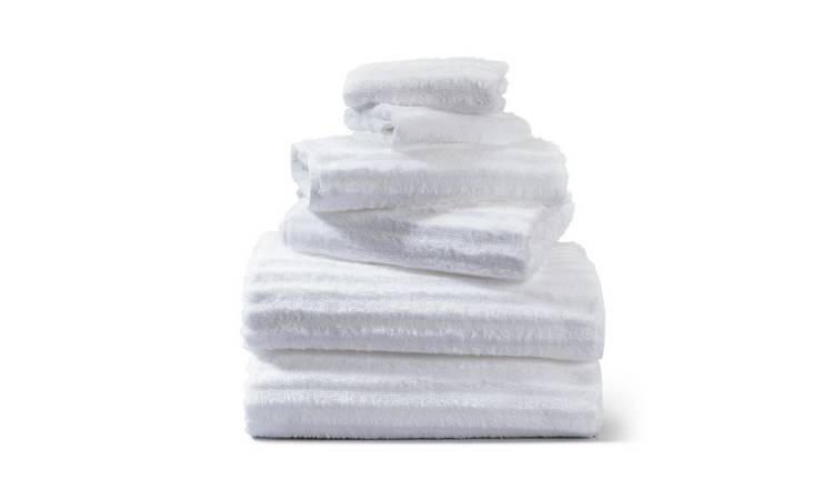 Argos Home Ribbed 6 Piece Towel Bale - White