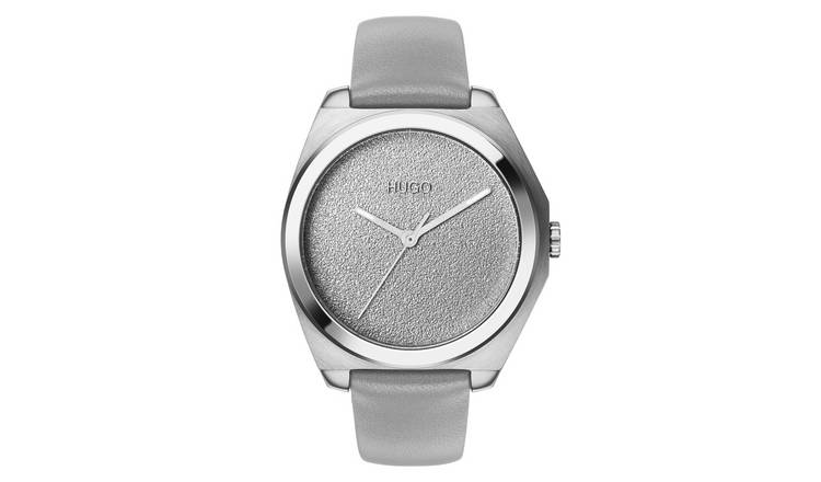 Hugo Ladies Grey Leather Strap Watch