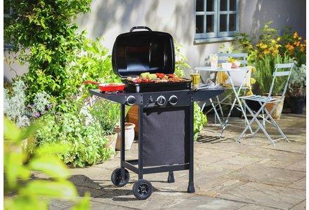 Image of 2 Burner Propane Gas BBQ with Side Burner.