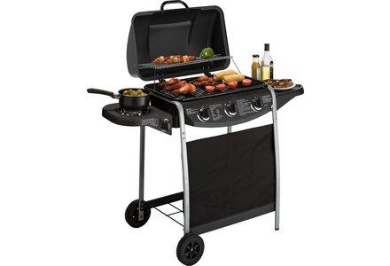 Image of 3 Burner Propane Gas BBQ with Side Burner.