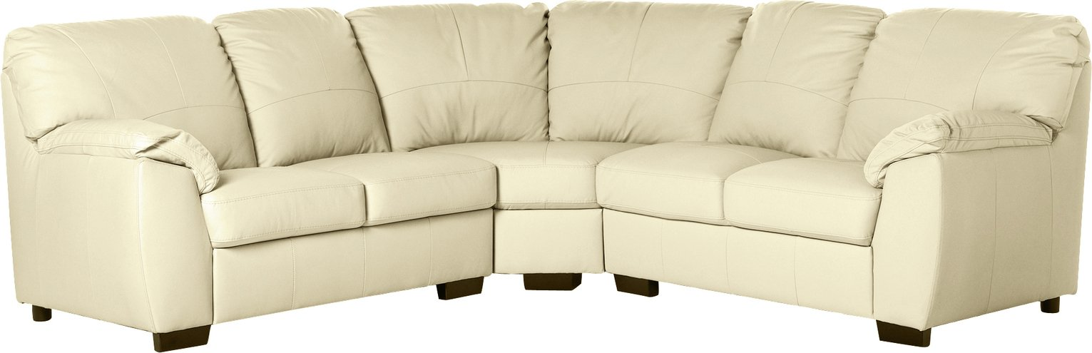 Argos Home Milano Corner Leather Sofa - Ivory
