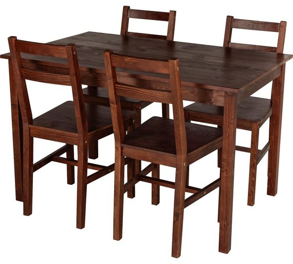 HOME Raye Solid Wood Dining Table 4 Chairs