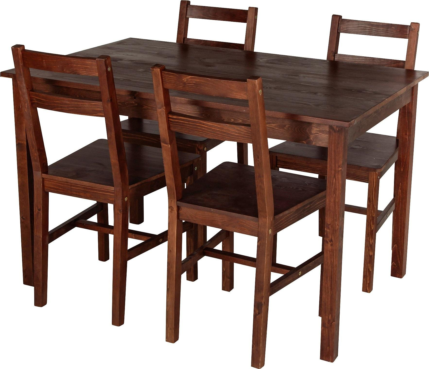 buy home raye solid wood dining table & 4 chairs - dark pine at