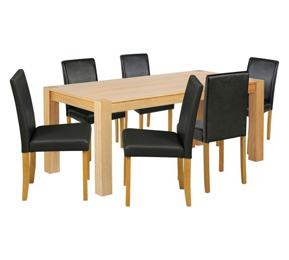 Collection Indiana Solid Oak Table 6 Chairs