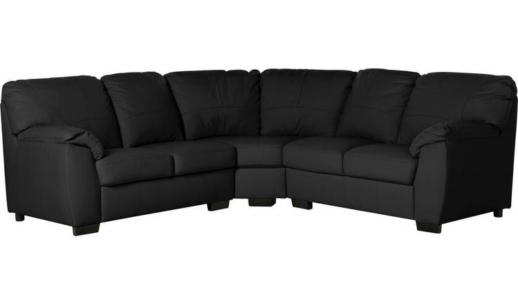 Argos Home Milano Corner Leather Sofa - Black