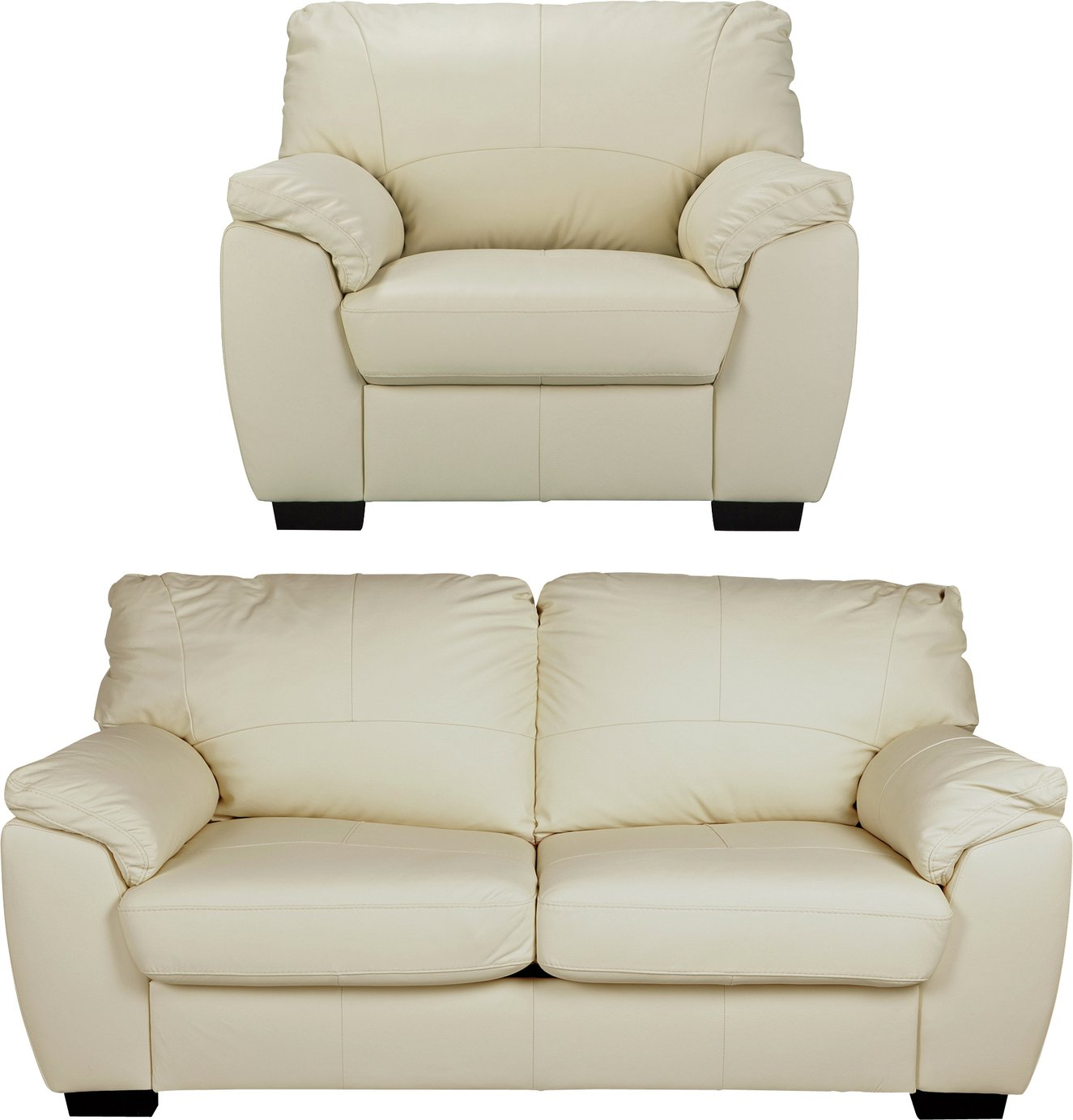 Argos Home Milano Leather Chair and 3 Seater Sofa - Ivory