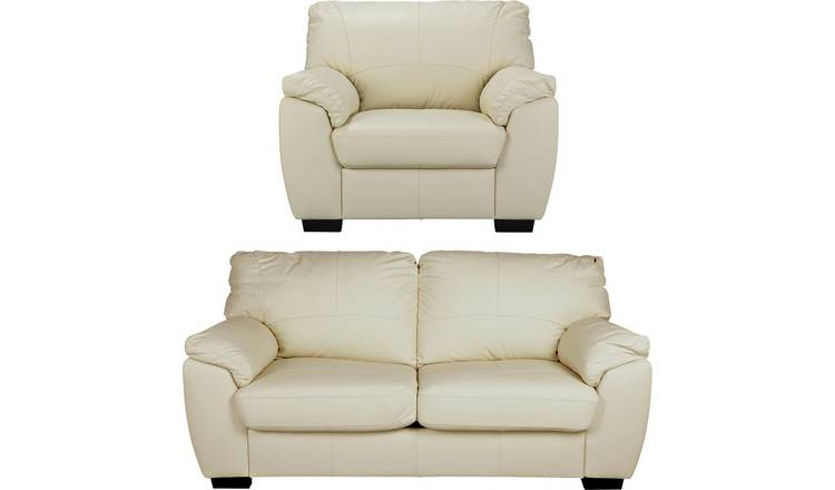 Buy Argos Home Milano Leather Chair and 3 Seater Sofa - Ivory | Sofa sets |  Argos
