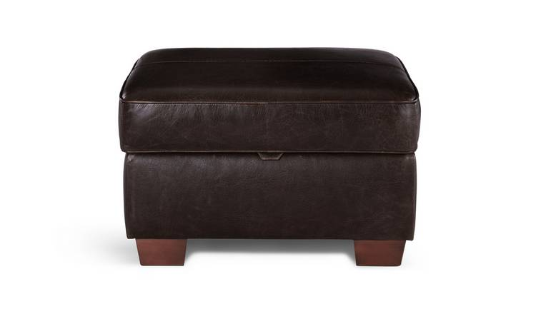 Habitat Salisbury Leather Storage Footstool - Dark Brown