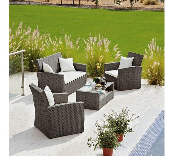 Buy Collection Bali Rattan Effect Brown 4 Seater Patio Set At Argos Co Uk Your Online Shop For Garden Table And Chair Sets Garden Furniture
