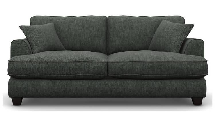 Argos Home Hampstead 3 Seater Fabric Sofa - Pewter