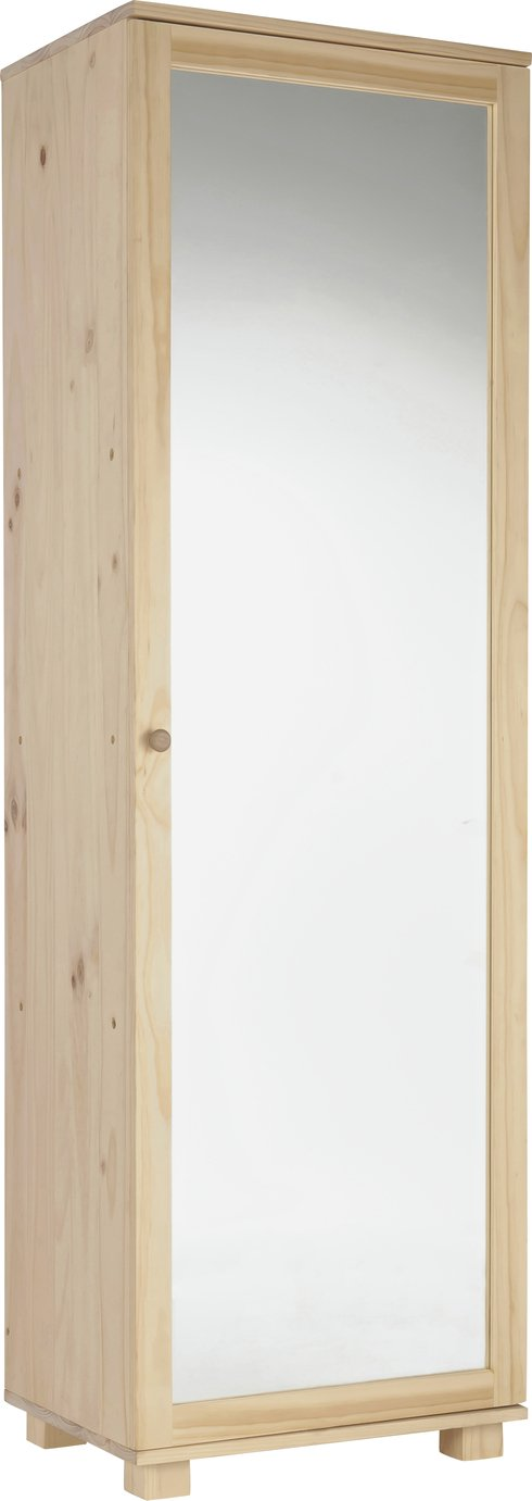 Argos Home Mirrored Shoe Cabinet - Solid Unfinished Pine