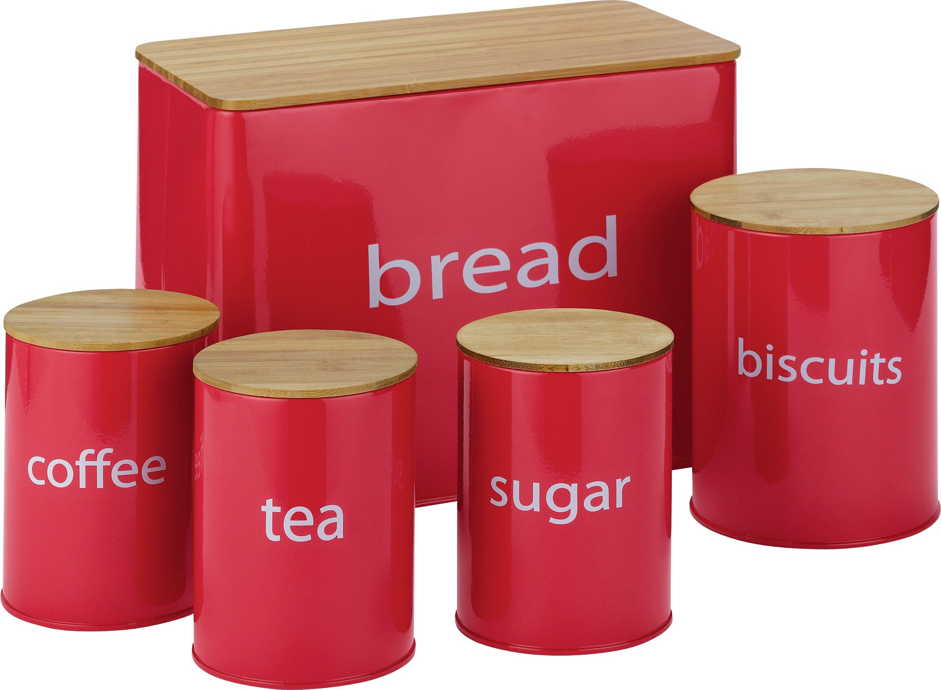 ColourMatch Set of 5 Wooden Lid Storage Jars - Red
