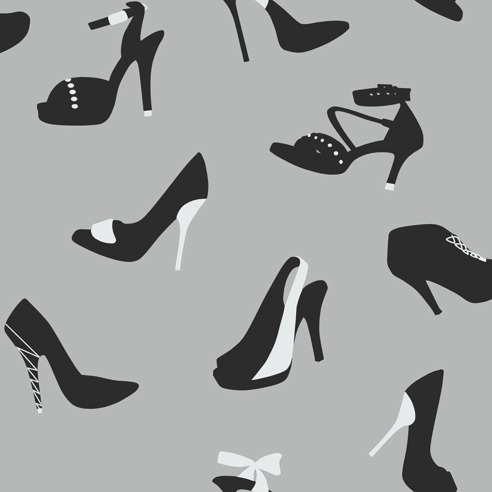 arthouse stiletto shoe wallpaper  silver.