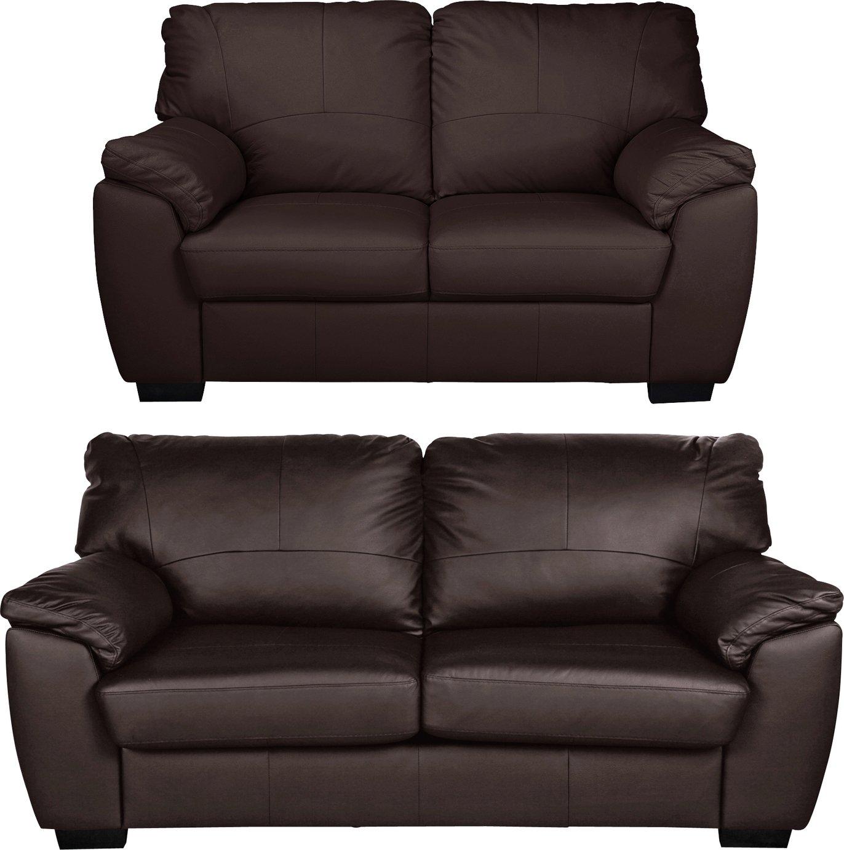 Argos Home Milano Leather 2 & 3 Seater Sofas - Chocolate