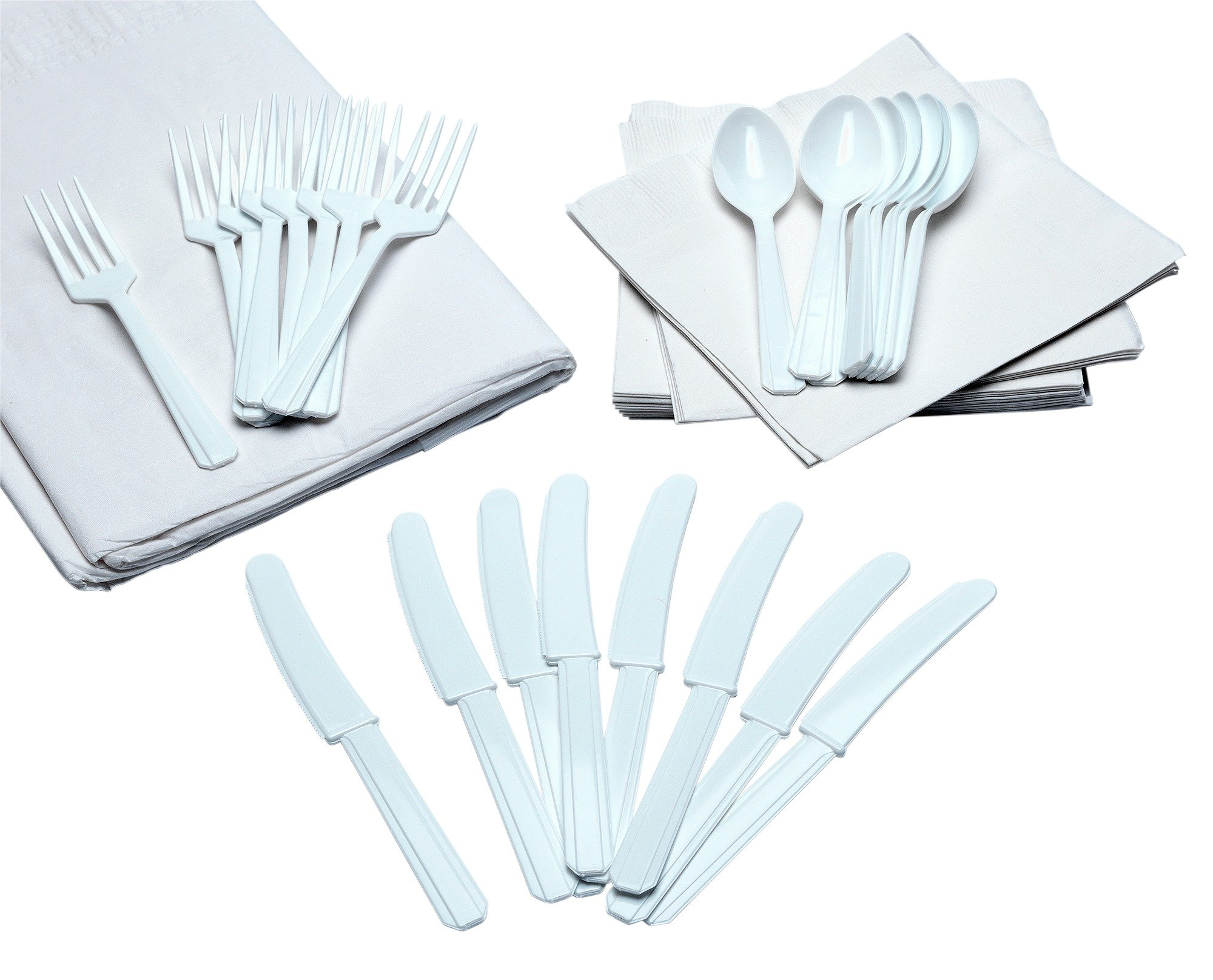 Image of Cutlery, Napkins and Tablecloth Set - White