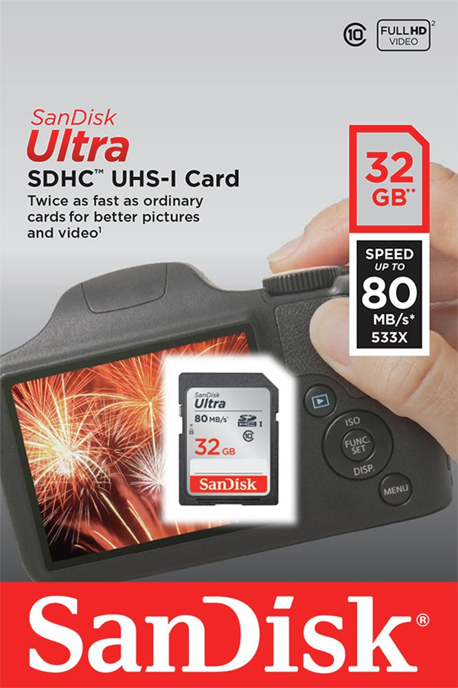 SanDisk Ultra 80MBs SD Memory Card - 32GB