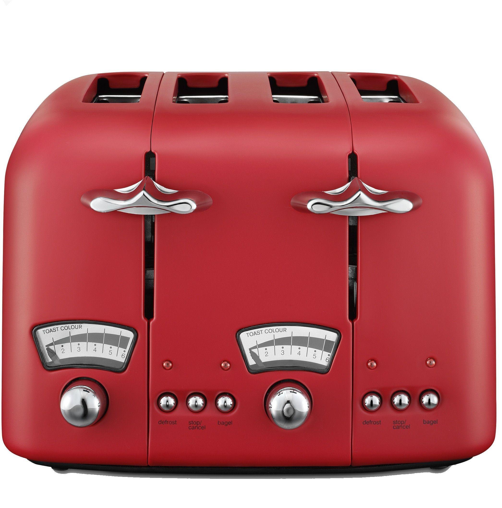 De'Longhi Argento 4 Slice Toaster - Red
