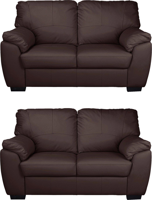Argos Home Milano Pair of Leather 2 Seater Sofa - Chocolate
