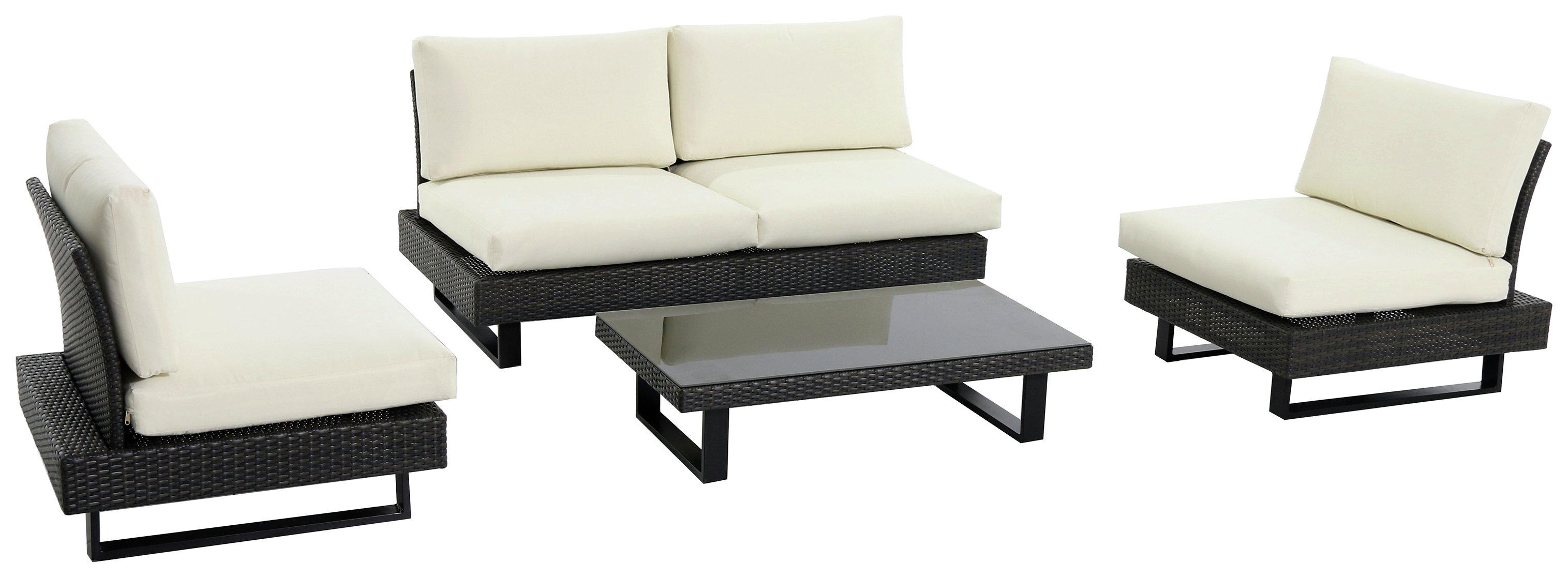 Low Level Modern Rattan - 4 Seater - Garden Sofa Set lowest price