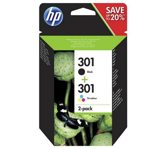 hp 301 2 pack blacktri colour ink cartridges n9j72ae3496006 - Hp 301 Tri Color Ink Cartridge