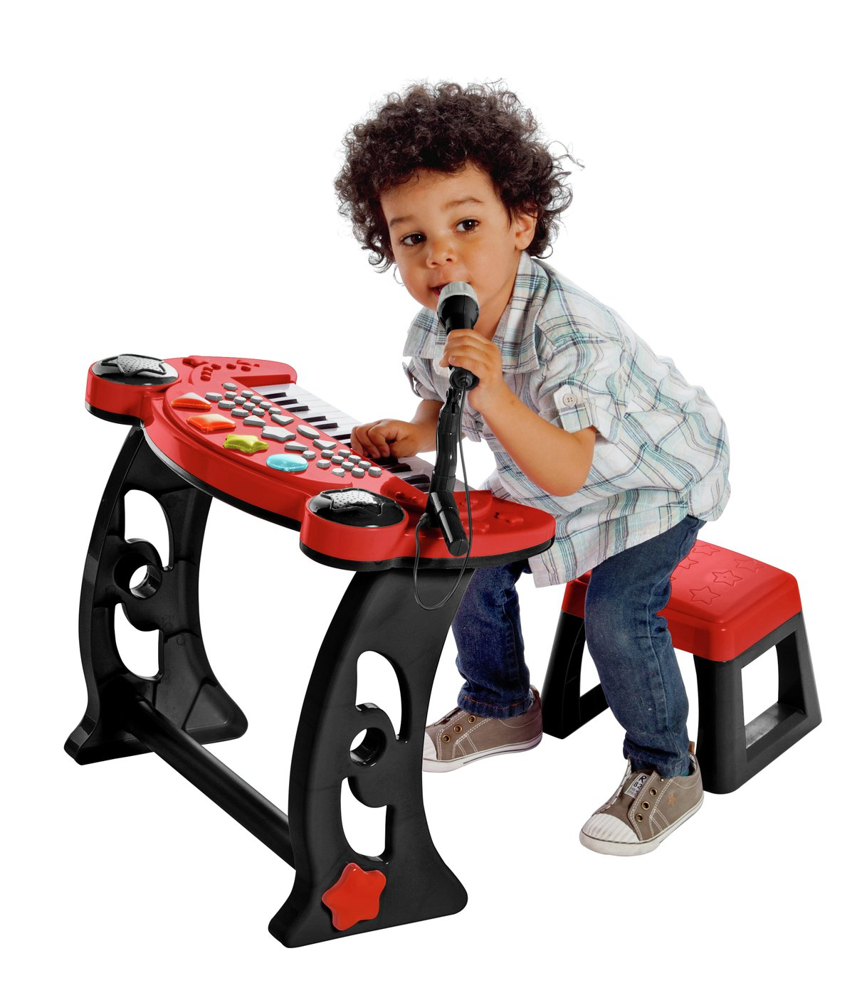 Chad Valley Sing Along Keyboard Stand And Stool Red 163
