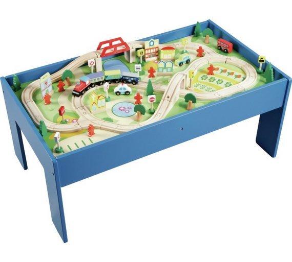 Buy Chad Valley Wooden Table and 90 Piece Train Set | Toy trains | Argos