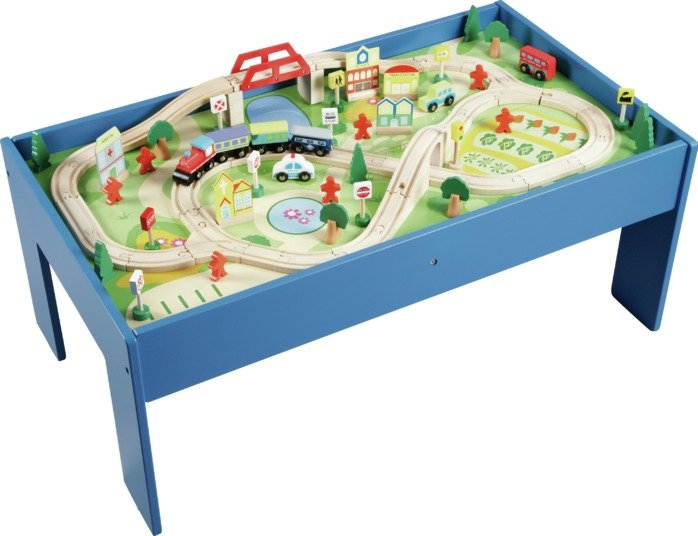 Good Chad Valley Wooden Table And 90 Piece Train Set