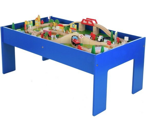 Chad Valley Wooden Table and 90 Piece Train Great Toy For Little ...