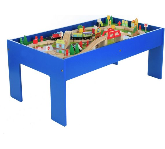 NEW Chad Valley Wooden Table and 90 Piece Train Presented On A ...