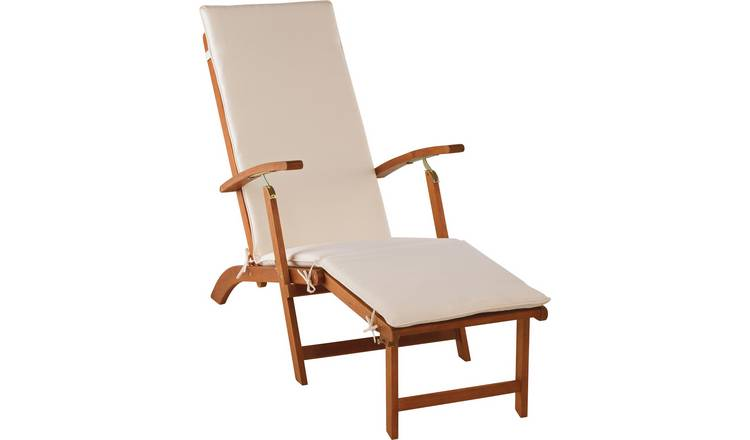 Argos Home Wooden Sun Lounger with Cushion - Cream