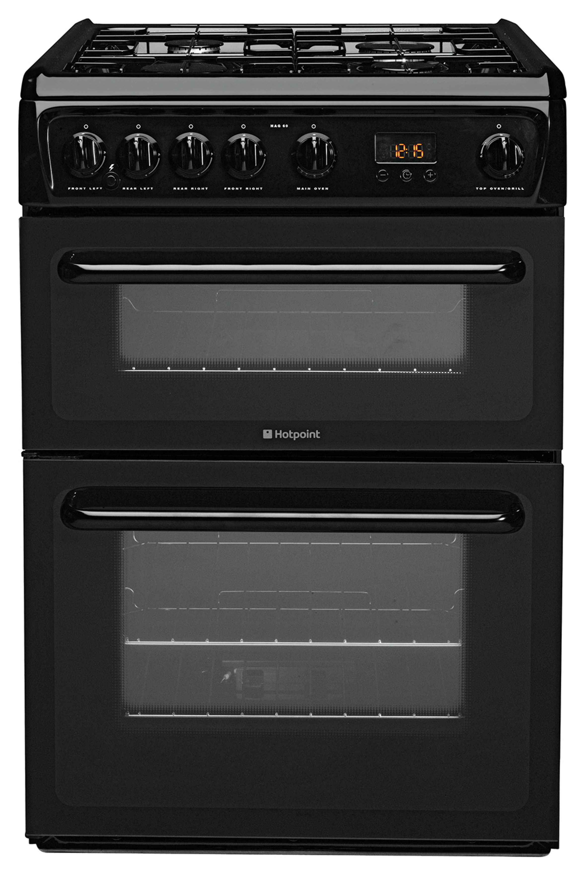 Hotpoint HAG60K Freestanding Double Gas Cooker - Black.