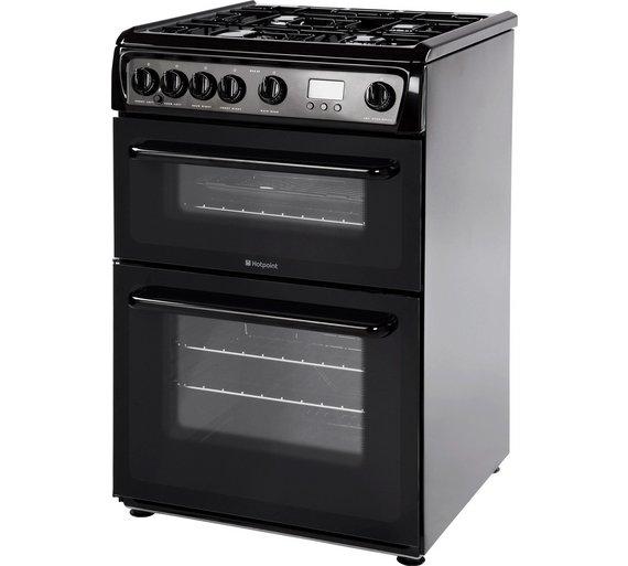 buy hotpoint hag60k freestanding double gas cooker black. Black Bedroom Furniture Sets. Home Design Ideas