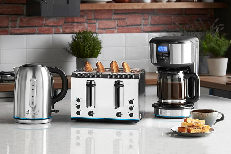 Russell Hobbs Buckingham kettle, toaster and coffee maker.