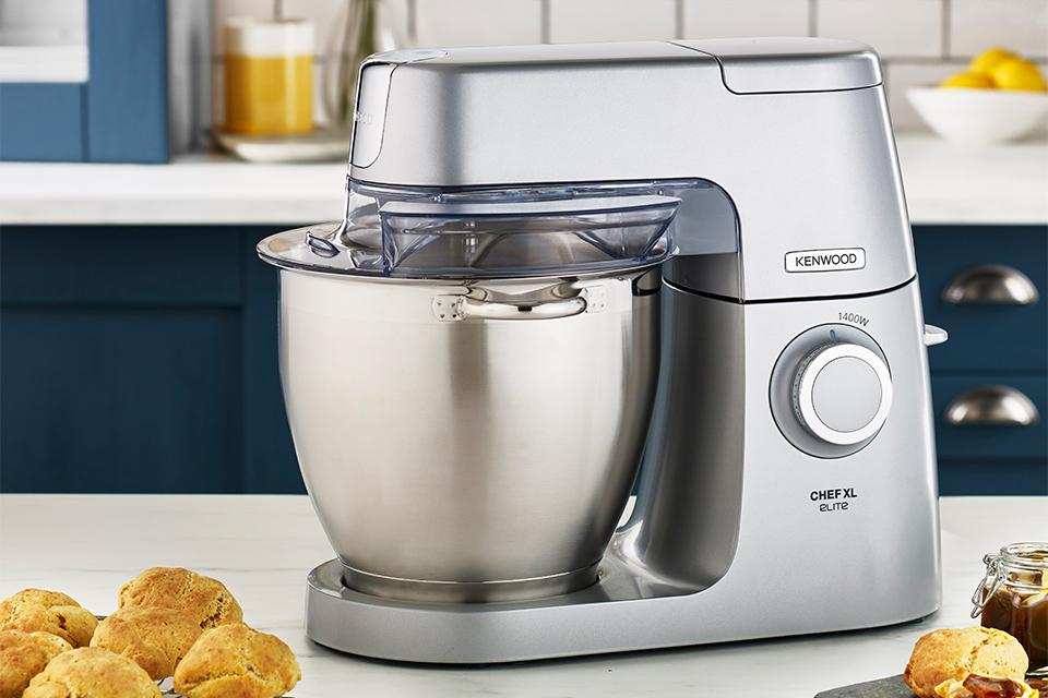 Stand mixer on a kitchen side.