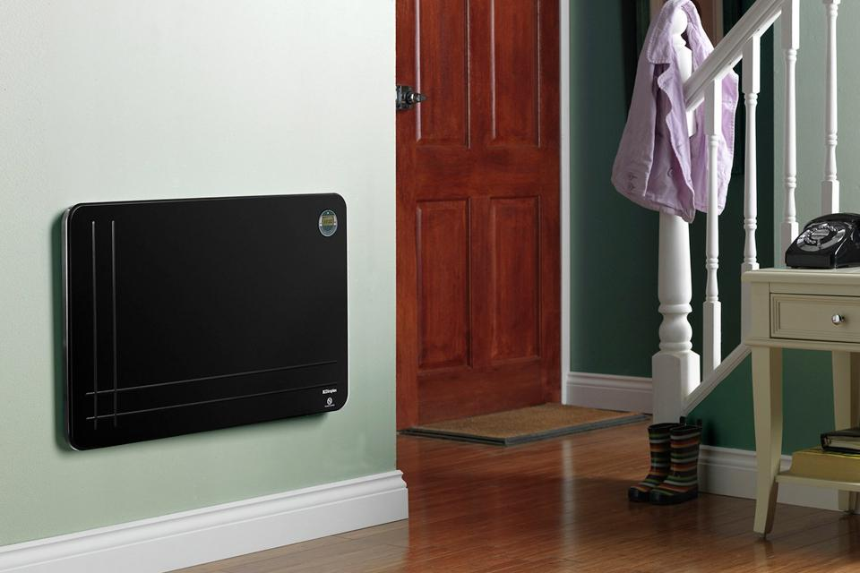 Panel heater on wall in hallway.