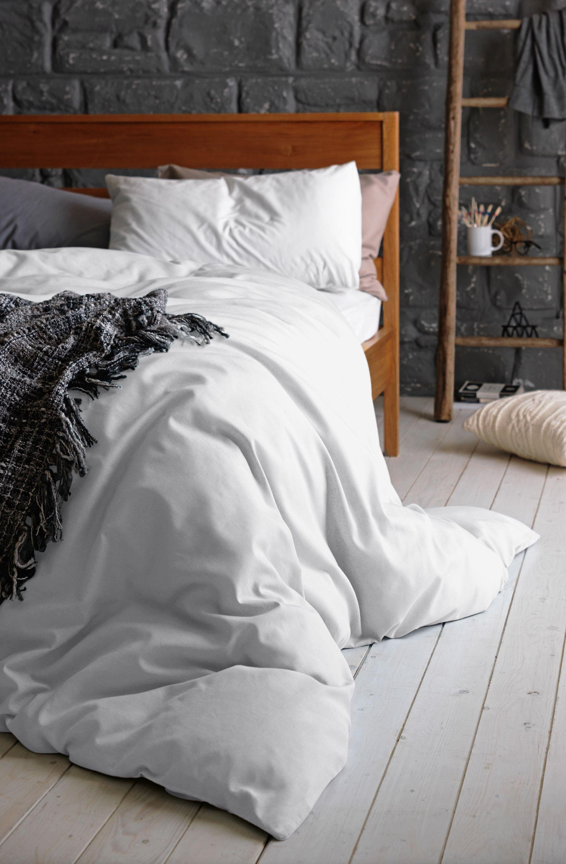 argos home 100 cotton white bedding set double 3525197. Black Bedroom Furniture Sets. Home Design Ideas