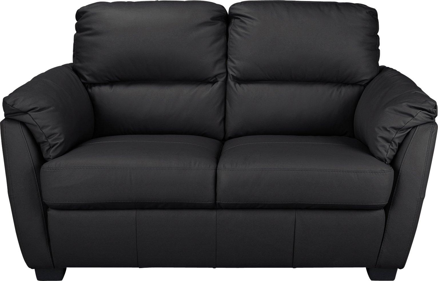 Argos Home Trieste 2 Seater Leather Sofa - Black