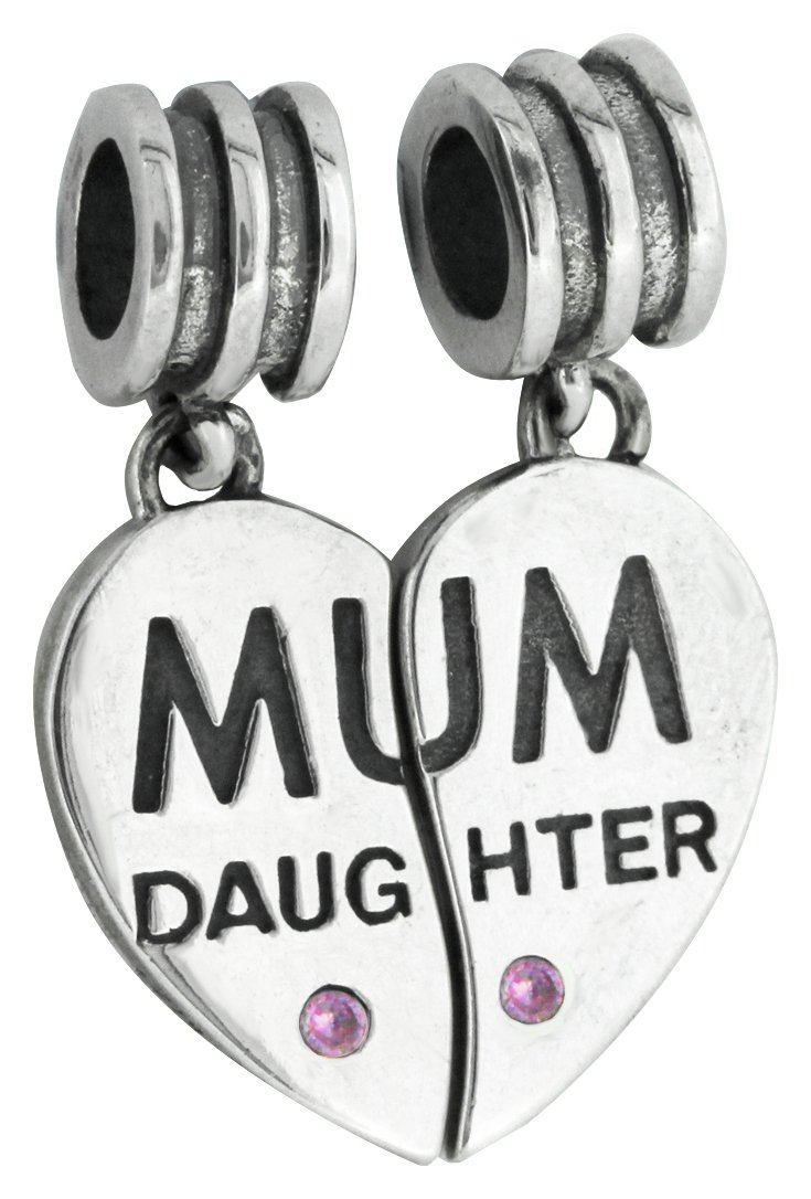 Link Up Sterling Silver Mum and Heart Drop Charms - 2.