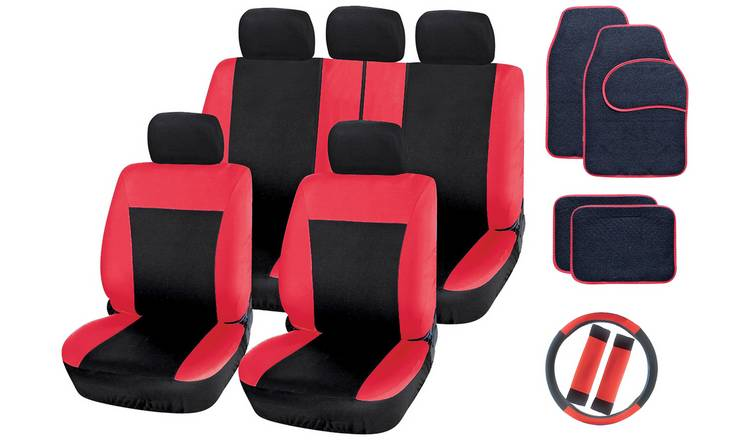 Streetwize Car Seat Cover and Mat Set - Black & Red