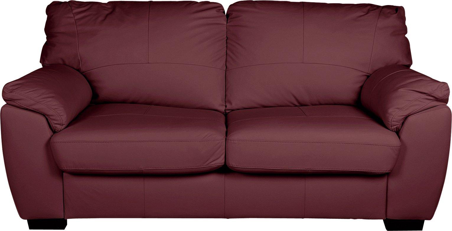 Argos Home Milano 3 Seater Leather Sofa - Burgundy