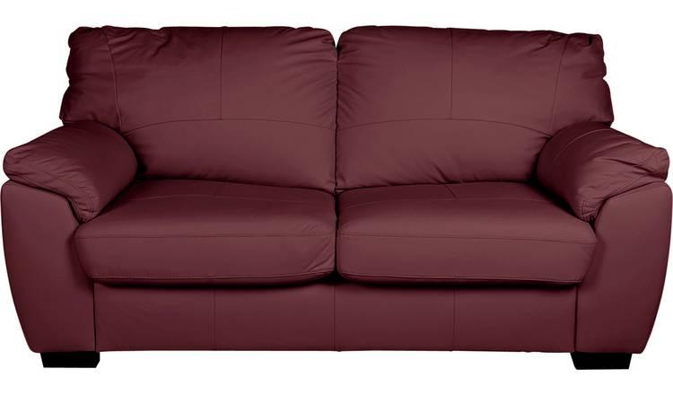Buy Argos Home Milano 3 Seater Leather Sofa Burgundy | Sofas | Argos