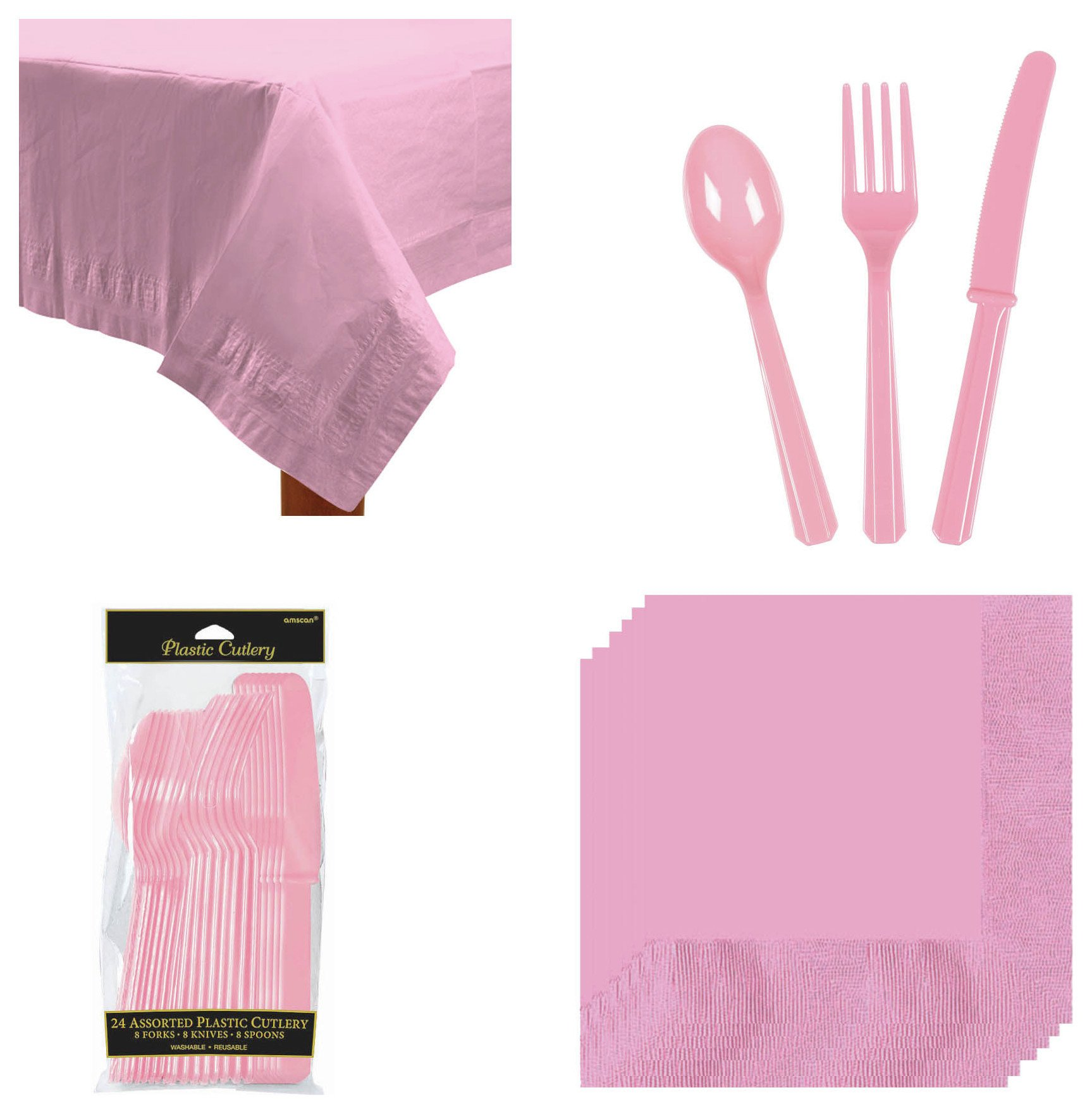 Image of Cutlery, Napkins and Table Cloth Set - Pink